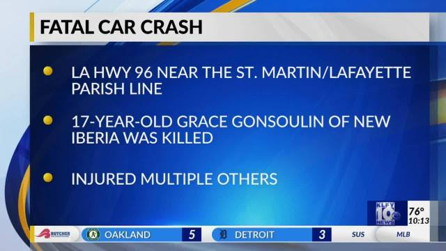 Teenage driver from New Iberia killed in weekend crash in St