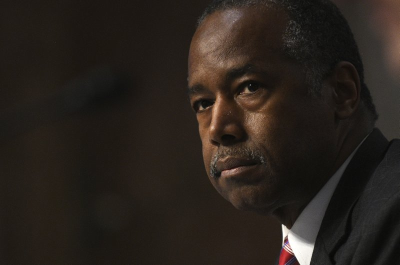 Housing and Urban Development Secretary Ben Carson testifies before a Senate Banking, Housing, and Urban Affairs Committee hearing on Capitol Hill in Washington, Tuesday, June 9, 2020. (Astrid Riecken/The Washington Post via AP, Pool)