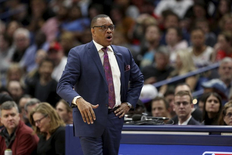 FILE - In this March 20, 2020 file photo, New Orleans Pelicans coach Alvin Gentry watches during the first half of the team's NBA basketball game against the Miami Heat in New Orleans. The Pelicans have fired Gentry, Saturday, Aug. 15, after the club missed the playoffs for the fourth time in five seasons. (AP Photo/Rusty Costanza, File)