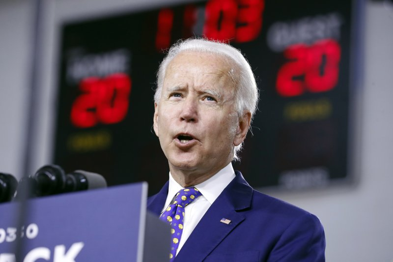 FILE - In this July 28, 2020, file photo, Democratic presidential candidate former Vice President Joe Biden speaks at a campaign event in Wilmington, Del. Despite all the secrecy, the speculation and the fierce jockeying behind the scenes, presidential running mates rarely sway an election. But as the political world awaits the imminent announcement of Biden's vice presidential pick, there is a real sense among his allies and adversaries that this decision may matter more in 2020. (AP Photo/Andrew Harnik, File)