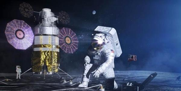 An artist's impression of two Artemis astronauts working on the surface of the moon. NASA