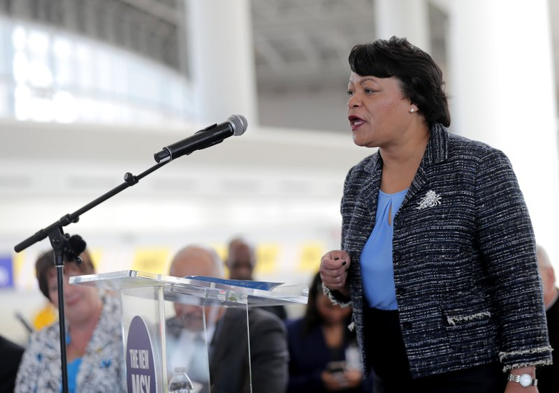 FILE - In this Nov. 5, 2019 file photo, New Orleans Mayor Latoya Cantrell speaks at a ribbon cutting ceremony for the opening the newly built main terminal of the Louis Armstrong New Orleans International Airport in Kenner, La. Cantrell came to the Louisiana Capitol on Tuesday, Oct. 13, 2020, to ask for money to help the city's coronavirus-damaged budget, but Republican lawmakers questioned her economic reopening decisions rather than offering her promises of aid. (AP Photo/Gerald Herbert, File)