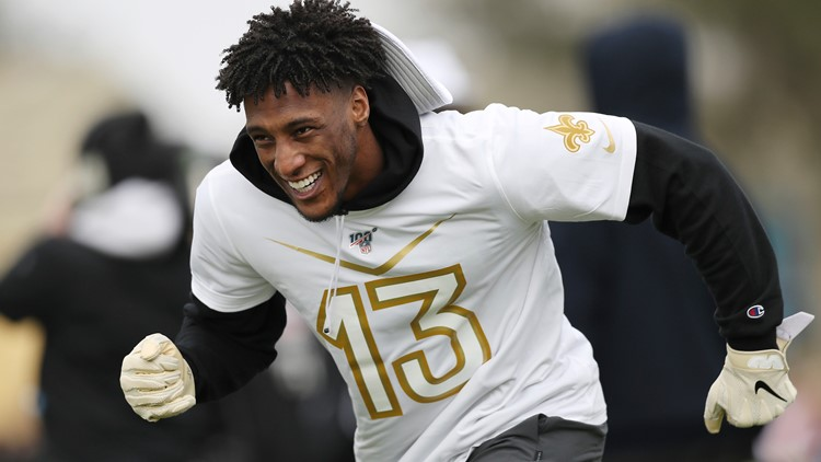 NFC wide receiver Michael Thomas of the New Orleans Saints runs a route during Pro Bowl NFL football practice, Wednesday, Jan. 22, 2020, in Kissimmee, Fla. (AP Photo/Steve Luciano)