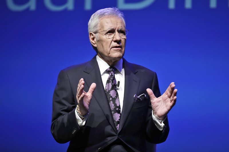 """FILE - In this Oct. 1, 2018, file photo, moderator Alex Trebek speaks in Hershey, Pa. Sony Pictures Television said Wednesday, Dec. 30, 2020, that Trebek's final """"Jeopardy!"""" episodes will air the week of Jan. 4, concluding with a special tribute on Friday, Jan. 8. The longtime and beloved host died of pancreatic cancer on Nov. 8 at age 80. (AP Photo/Matt Rourke, File)"""