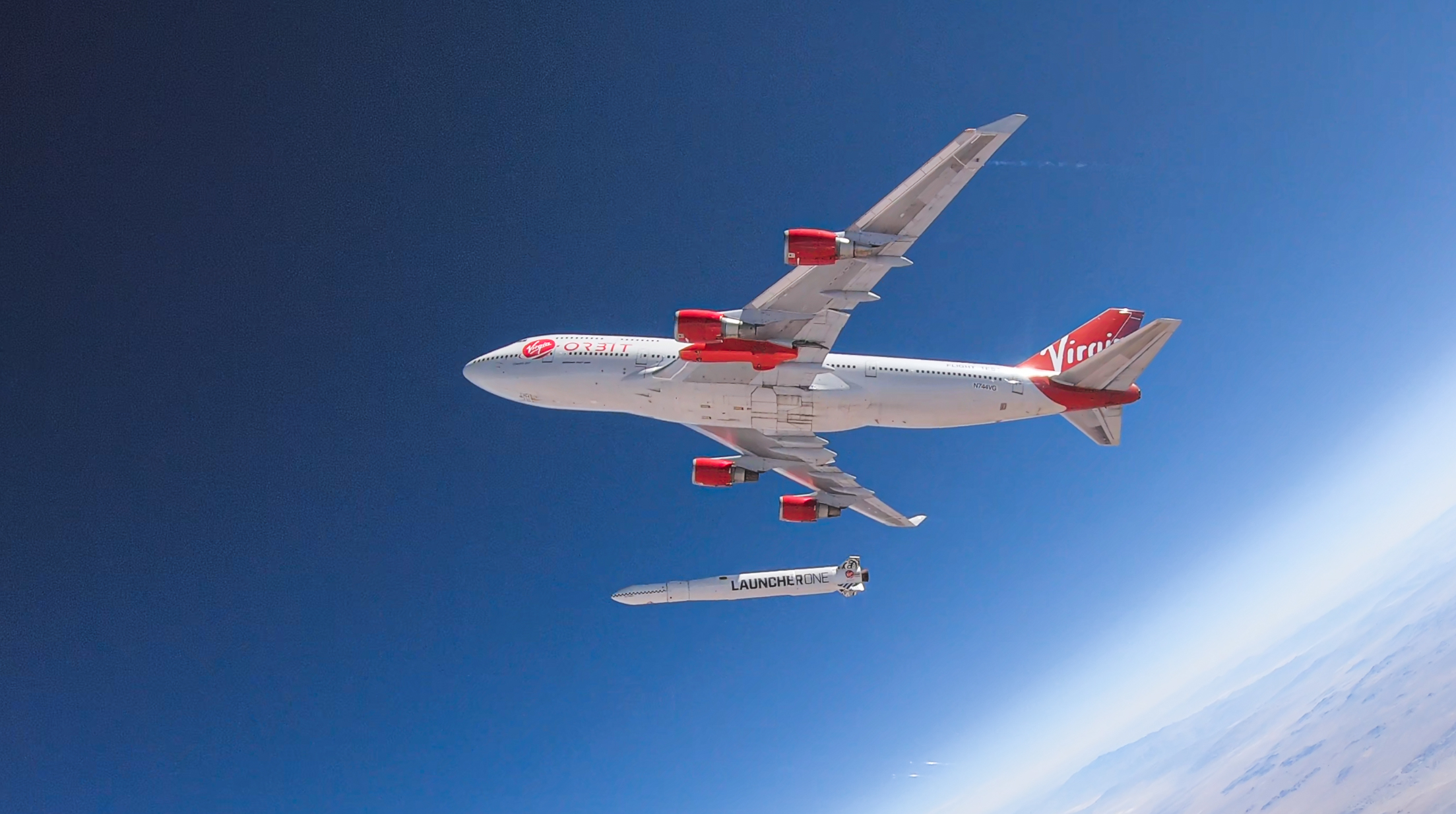 "A tiny satellite built by student researchers at the University of Louisiana at Lafayette was launched into space Sunday to measure radiation levels as it orbits Earth. ""The CubeSat"" left the Mojave Air and Space Port in California inside a Virgin Orbit LauncherOne rocket attached beneath a wing of a customized Boeing 747. Photo credit: Virgin Orbit"