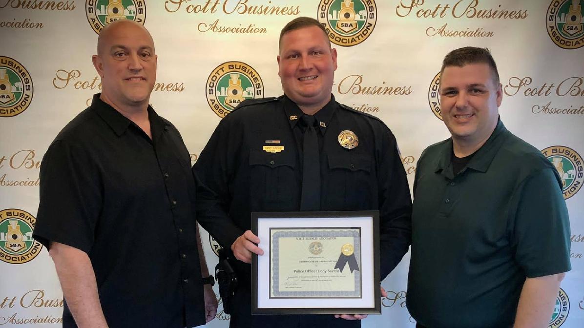 Scott Police Chief Chad Leger, POFC Cody Savoie, SBA President Caleb Lege