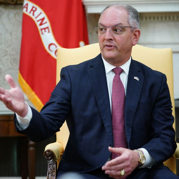 Louisiana Governor John Bel Edwards(D-LA) speaks as he meets with US President Donald Trump in the Oval Office of the White House in Washington, DC on April 29, 2020. (Photo by MANDEL NGAN / AFP) (Photo by MANDEL NGAN/AFP via Getty Images)