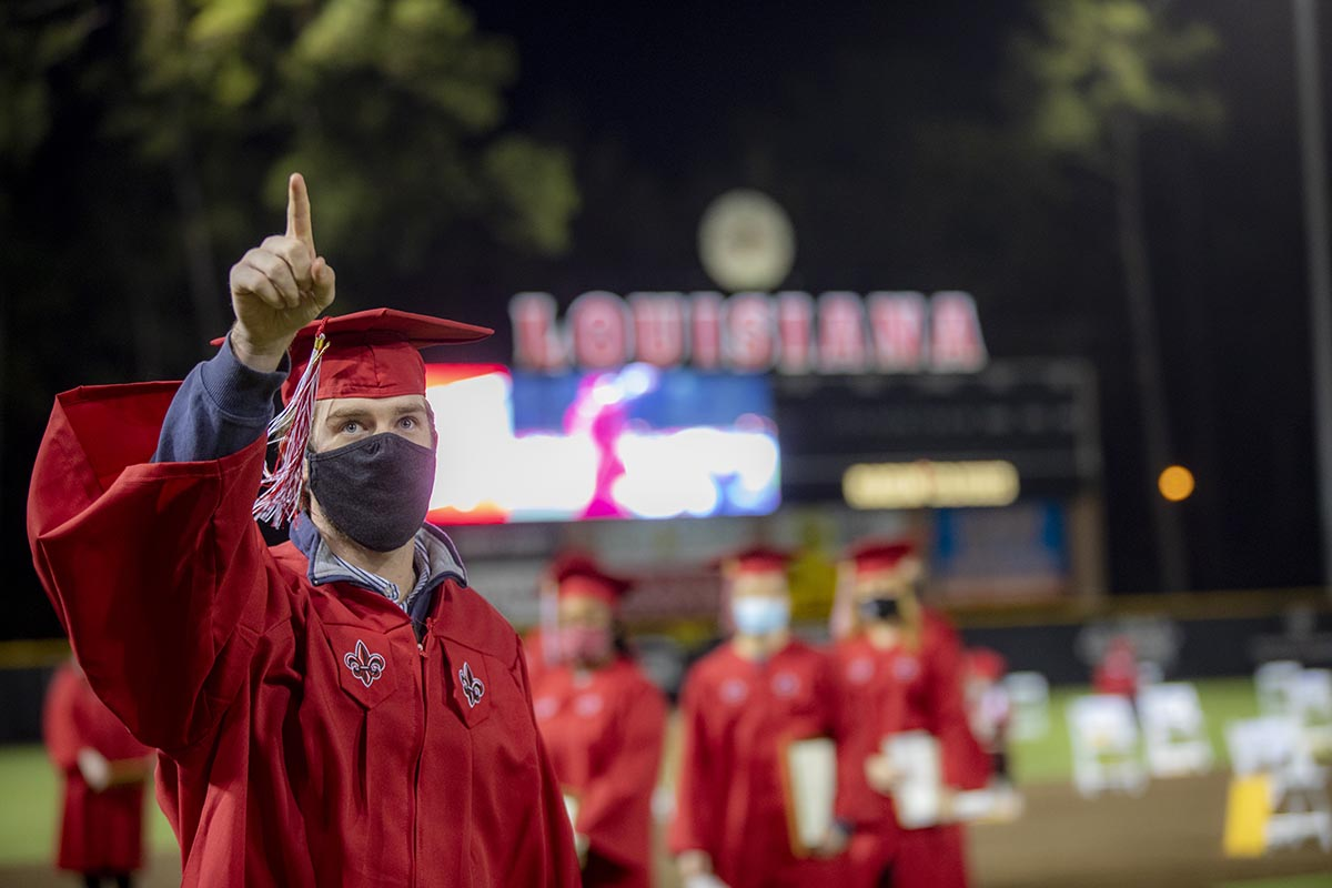 "The University of Louisiana at Lafayette will honor Spring 2021 graduates during Commencement ceremonies that will be held over two days at Cajun Field and M.L. ""Tigue"" Moore Field at Russo Park. Individual ceremonies for six academic colleges will be held on Friday, May 14; ceremonies for two academic colleges and the Graduate School will be held the next day. Photo credit: Rachel Rafati / University of Louisiana at Lafayette"