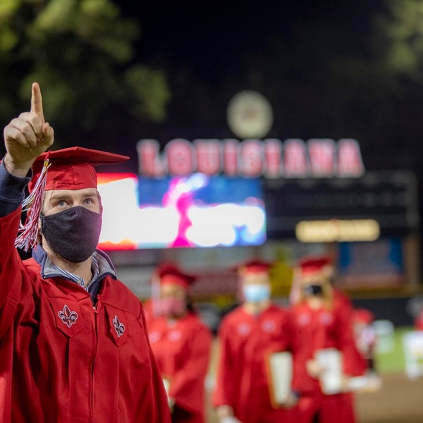 """The University of Louisiana at Lafayette will honor Spring 2021 graduates during Commencement ceremonies that will be held over two days at Cajun Field and M.L. """"Tigue"""" Moore Field at Russo Park. Individual ceremonies for six academic colleges will be held on Friday, May 14; ceremonies for two academic colleges and the Graduate School will be held the next day. Photo credit: Rachel Rafati / University of Louisiana at Lafayette"""