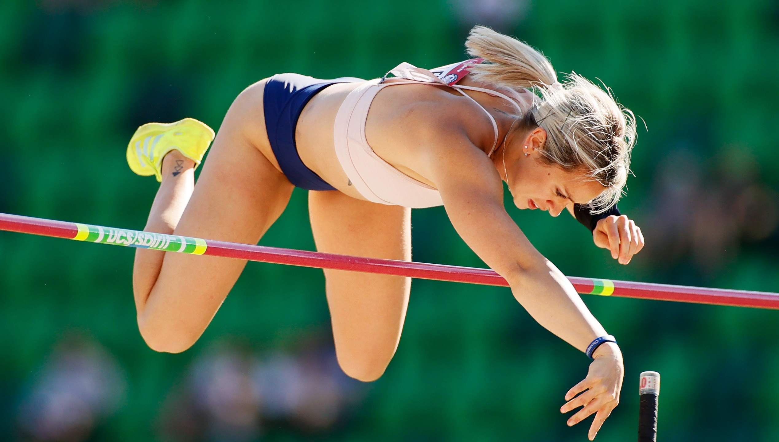 EUGENE, OREGON - JUNE 24: Morgann LeLeux competes in the first round of the Women's Pole Vault on day seven of the 2020 U.S. Olympic Track & Field Team Trials at Hayward Field on June 24, 2021 in Eugene, Oregon. (Photo by Steph Chambers/Getty Images)