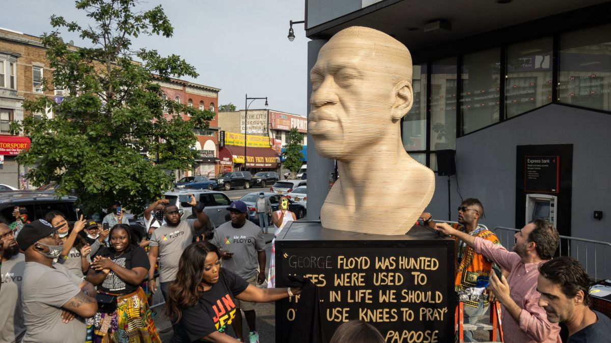 George Floyd Statues in New York and New Jersey Vandalized