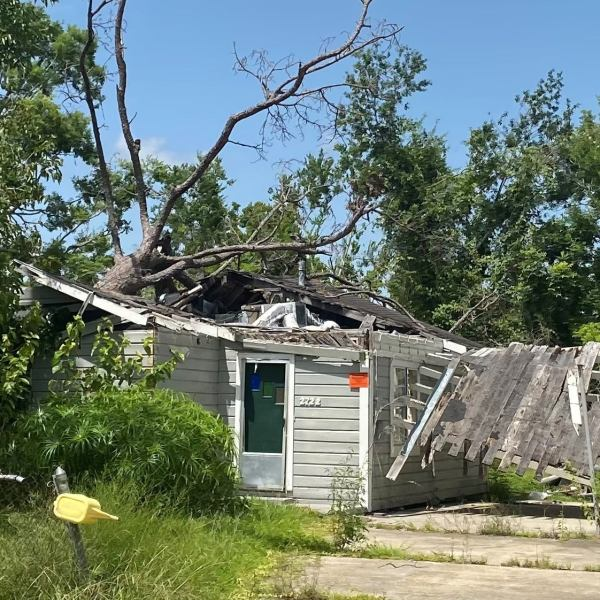 Thousands of abandoned homes like this one, damaged by Hurricane Laura nearly one year ago, can be found across Southwest Louisiana.