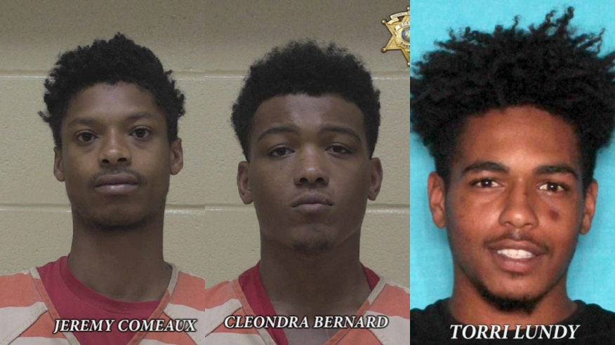 21-year-old Jeremy Comeaux, of Lafayette, 20-year-old Cleondra Bernard, of Carencro, Torri Lundy