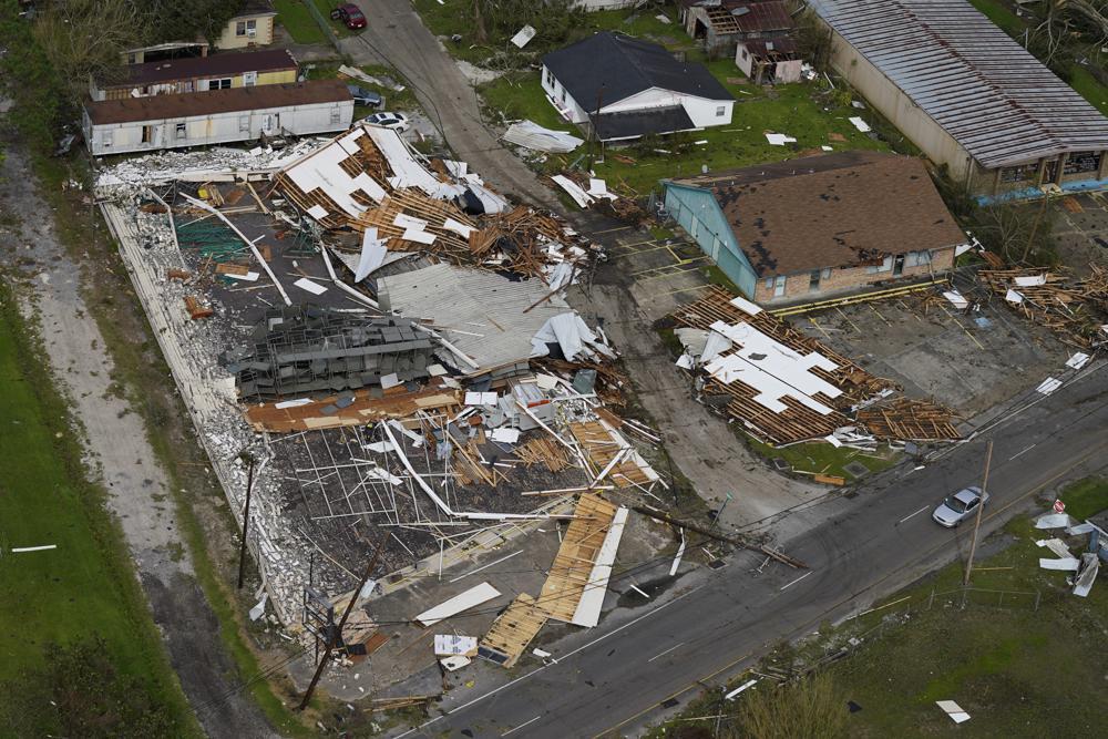 Damage is seen in the aftermath of Hurricane Ida, Monday, Aug. 30, 2021, in Houma, La. (AP Photo/David J. Phillip)
