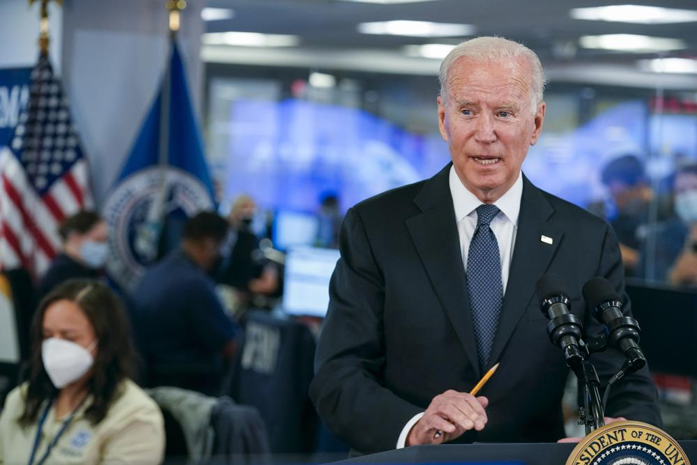 President Joe Biden speaks at the National Response Coordination Center at FEMA headquarters, Sunday, Aug. 29, 2021, in Washington. Hurricane Ida blasted ashore Sunday as one of the most powerful storms ever to hit the U.S.(AP Photo/Manuel Balce Ceneta)