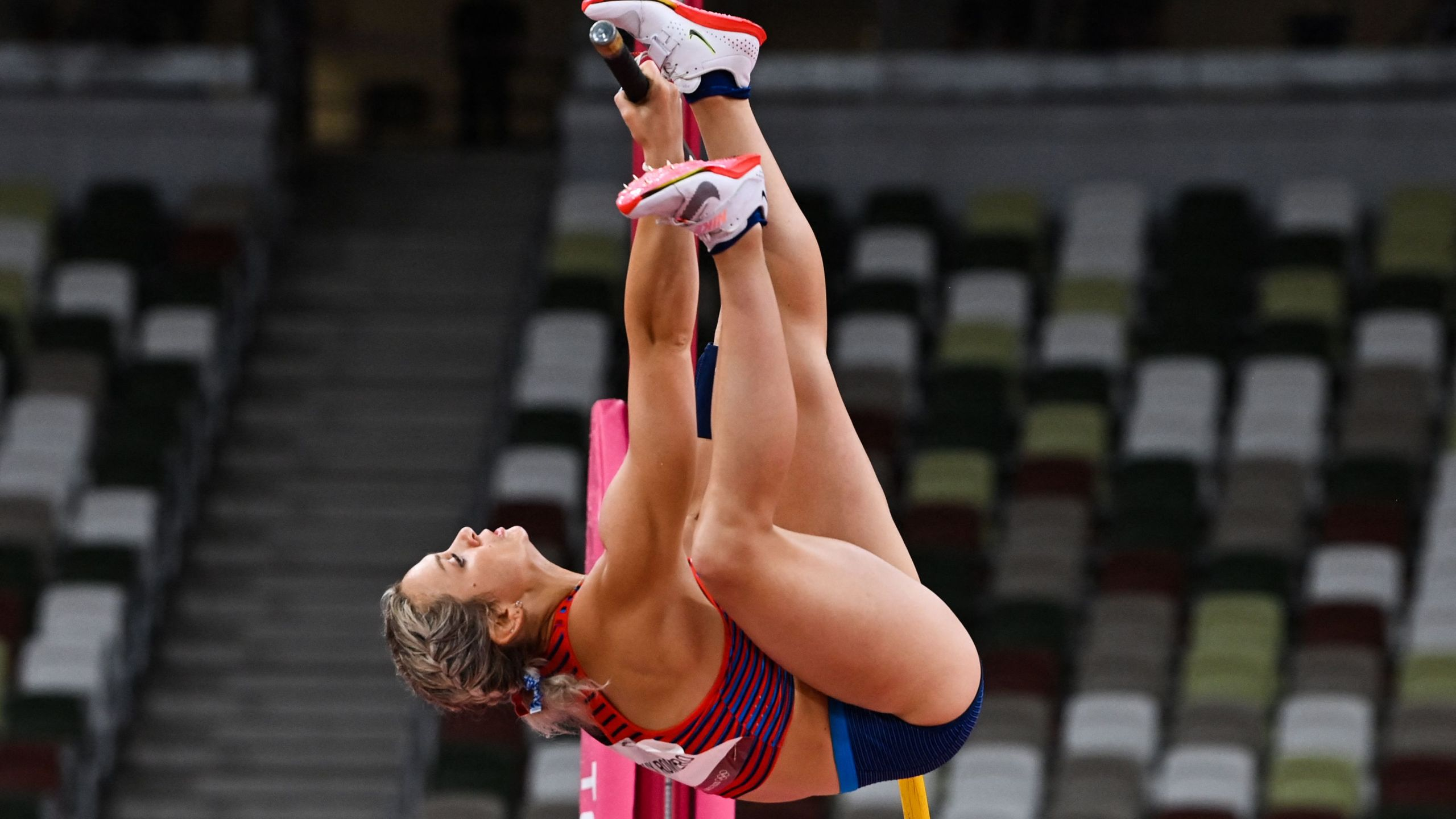USA's Morgann Leleux Romero competes in the women's pole vault qualification during the Tokyo 2020 Olympic Games at the Olympic Stadium in Tokyo on August 2, 2021. (Photo by Andrej ISAKOVIC / AFP) (Photo by ANDREJ ISAKOVIC/AFP via Getty Images)