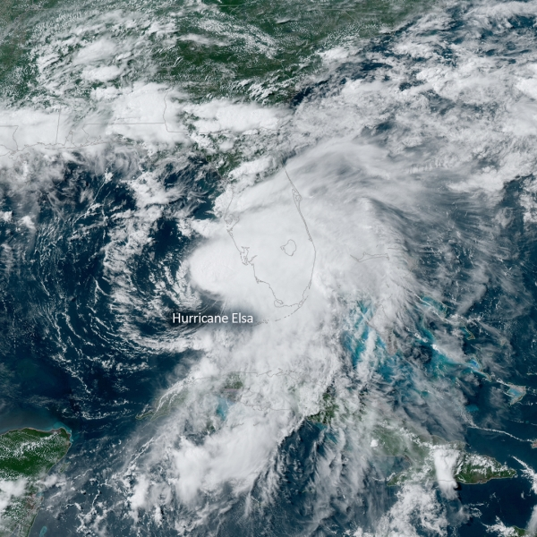 NOAA GOES-East satellite image of Hurricane Elsa as it moves up Florida's west coast on July 6, 2021. (NOAA)